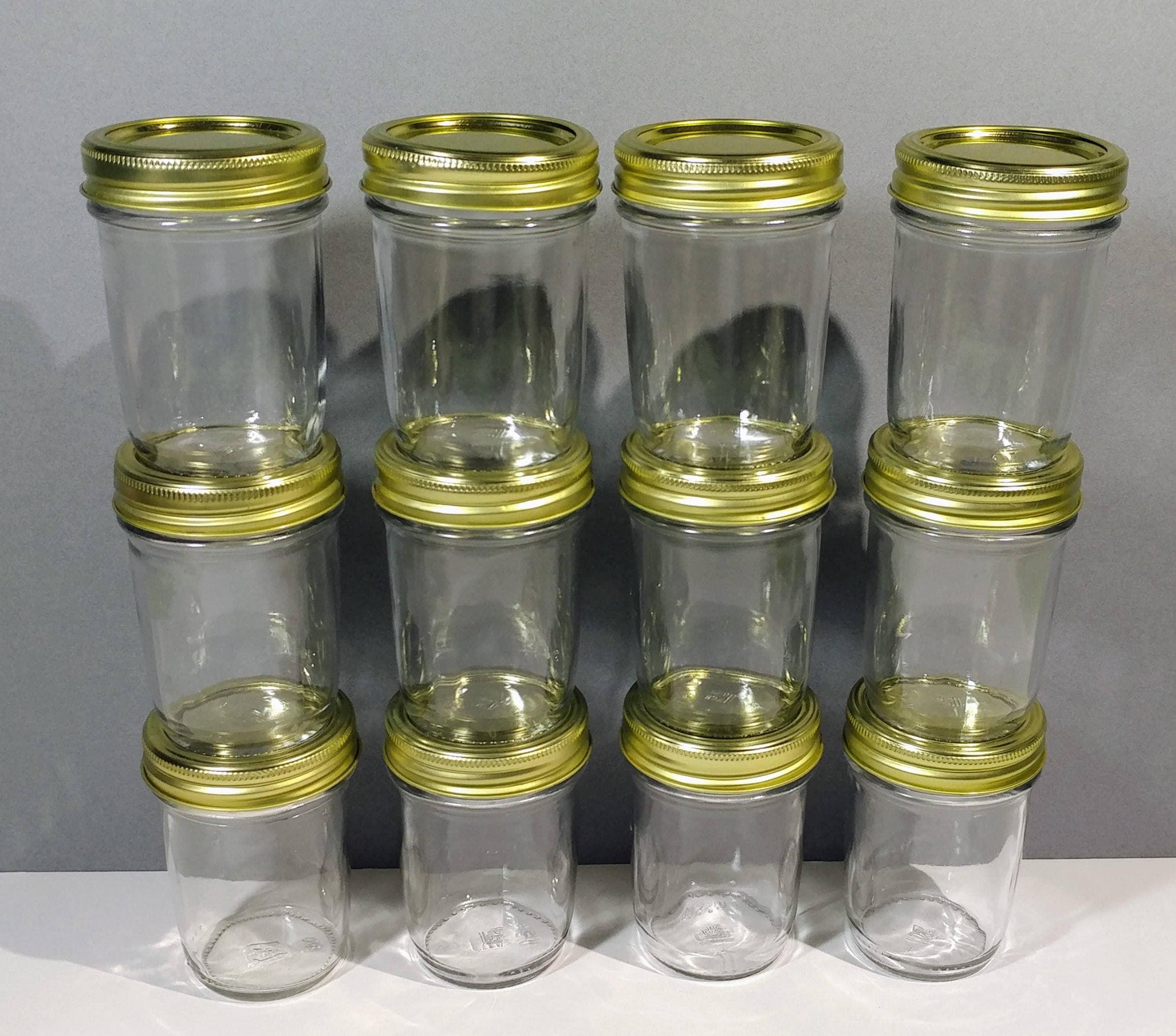 12 clear glass 8oz mason style jar collection gold cap lid. Black Bedroom Furniture Sets. Home Design Ideas
