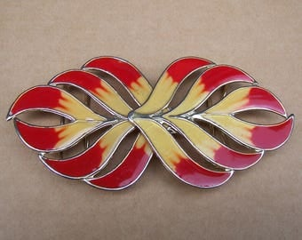 Belt buckle, sash buckle, Art Nouveau buckle, enamel buckle, dress accessory