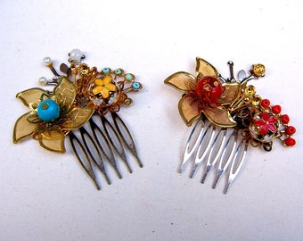 Two vintage Oriental hair combs in metal filigree with added decoration (AAR)