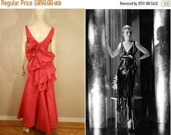 Anniversary Sale 35% Off Orchids in the Moonlight - Vintage 1930s Hot Pink Fuchsia Rayon Taffeta Bustle Evening Gown Dress - 4/6