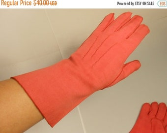 Anniversary Sale 35% Off Fried Red Tomatoes - Vintage 1940s Tomato Red Cotton Long Mid Arm Gloves - 7