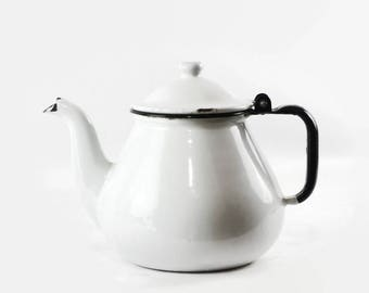 White Enamel Teapot, Farmhouse Kitchen Decor, Vintage Enamelware