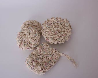 Bath Set, Eco Friendly Crochet Spa Set, Tawashi Scrubbies, Bubble Scrubbies, Soap Saver