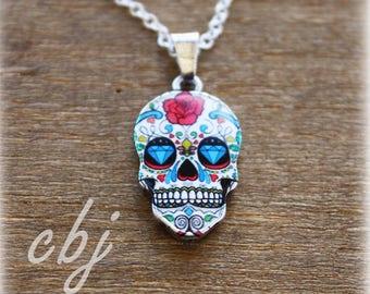 Sugar Skull Necklace, Dia de los Muertos Necklace, Painted Skull Necklace, Minimal Necklace