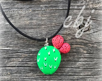Nopal Necklace, Nopal Charm, Cactus Charm, Cactus Necklace, Handmade Cactus Jewelry