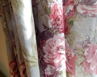 Two wide Vintage Cabbage  Rose Curtain Panels with matchingTiebacks