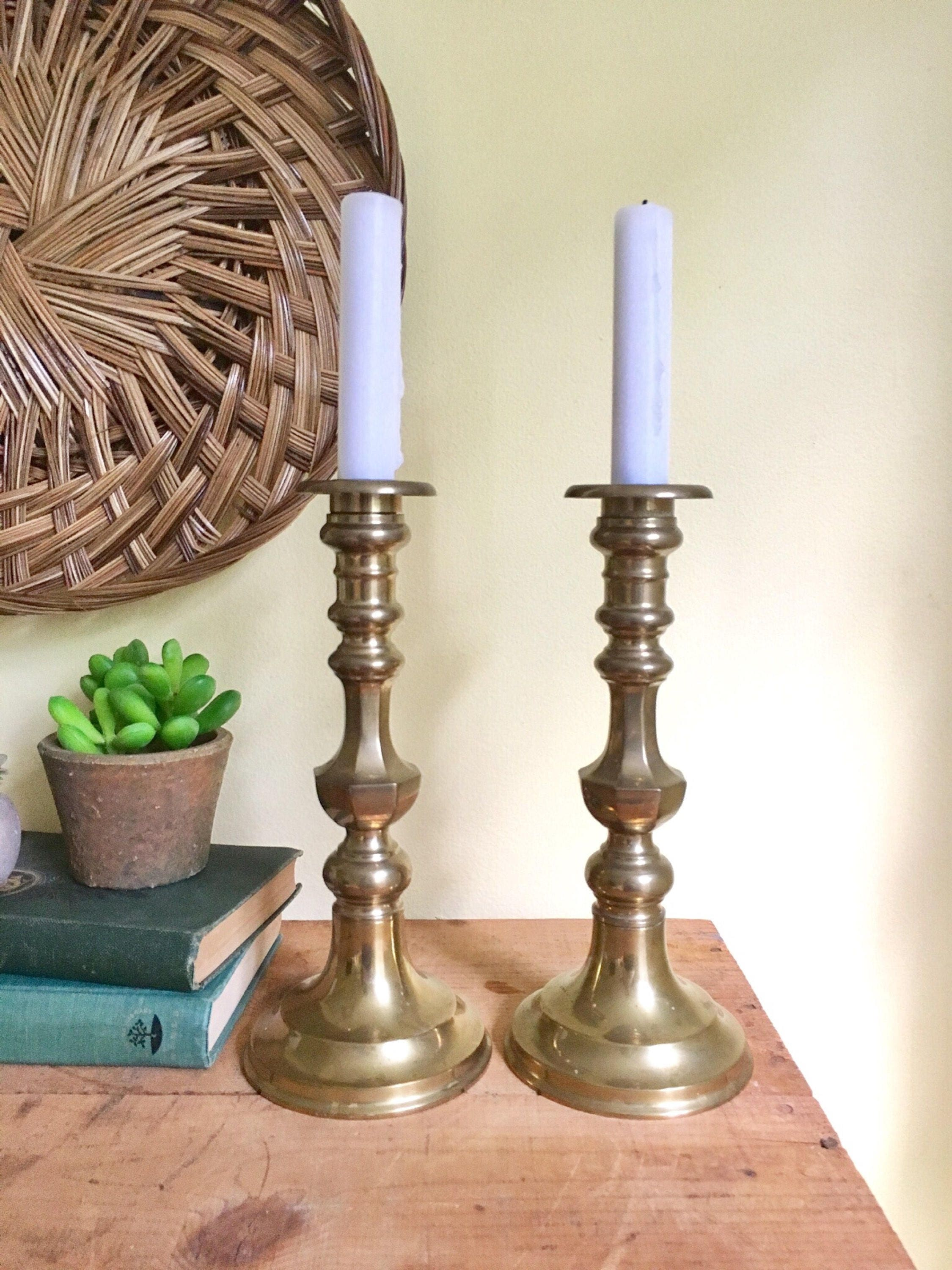 vintage brass candle holder pair andrea by sadek tall candle holders bohemian decor