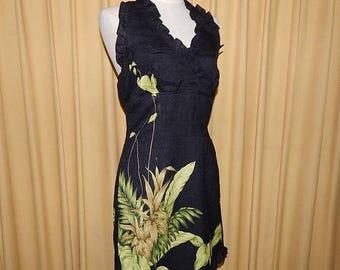 70% ON SALE Beautiful Black Linen Halter Dress Bust 34-36 Waist 30 Hip 40
