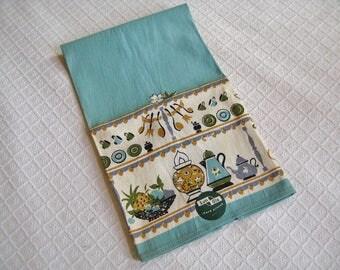 Vintage Sun Glo Mid Century Dish Towel, Cotton, Aqua