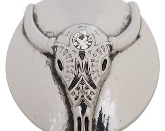 Longhorn steer snap charm works with regular sized snap jewelry including Gingersnaps Jewelry. 20 mm steer skull snap button.