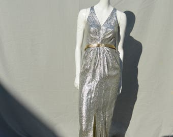 Vintage 70's long formal silver lame dress SARITAS of El Paso disco party prom sexy extra small dress by thekaliman