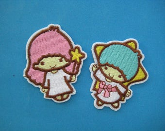 SALE~ 2 pcs Iron-on Embroidered Patch Little Twin Stars Kiki & Lala 2.5 inch
