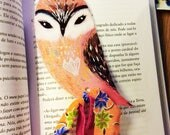 Owl bookmark - bookmarker, illustration, whimscal, papergoods, book art, book mark, owl painting, owl gift, pink owl, peach
