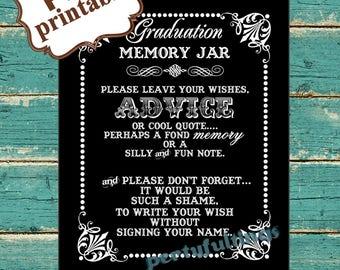 INSTANT DOWNLOAD- 8 x 10 Graduation Memory / Wish Jar Black & White---Printable PDF File