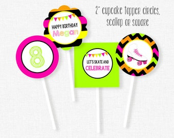 Roller Skating Cupcake Toppers, Neon Party Decorations, Skating Party Circles, Printable Birthday Cupcake Toppers