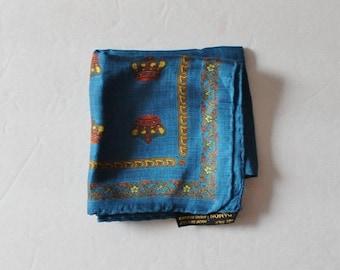 50% half off sale // Vintage 70s Novelty Crown Print Royal Handkerchief - Blue Silk by Damon - Menswear