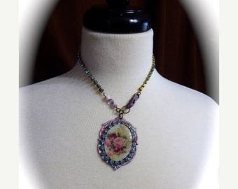 HUGE SALE OOAK Neo-VIctorian Style 2017 Trendy Cameo Choker Necklace, Blue Rhinestone Chain, Pink Roses,