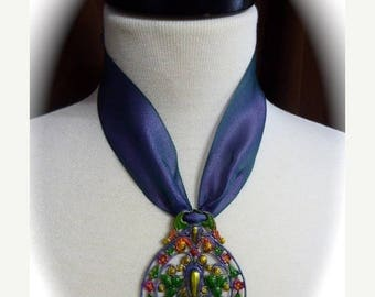 HUGE SALE OOAK Neo-Victorian Style 2017 Choker Trend Necklace with Iridescent Blue Violet Ribbon, Multicolored Hand Painted Ornate Metal Fil