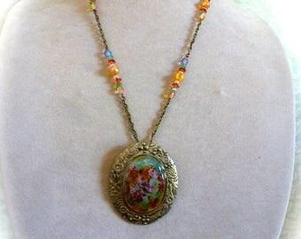Clearance Sale SALE - Cameo Pendant Necklace Hand Painted Floral Garden Butterflies