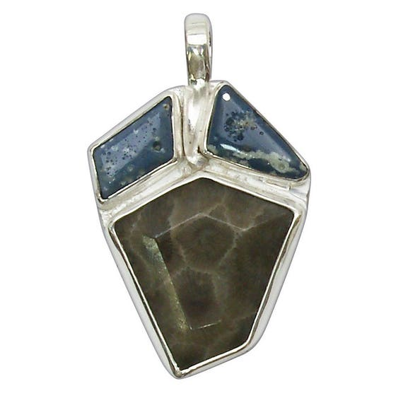 Petoskey Stone & Leland Bluestone Three Stone Pendant set in Sterling Silver  ppklbh2803