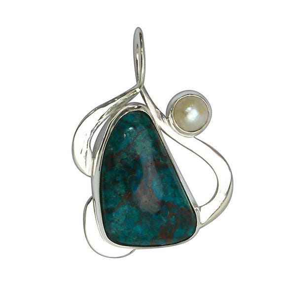 Chrysocolla and Fresh Water Pearl Pendant Set in Sterling Silver   pchrh2878
