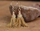 Antique Victorian 18K French foxtail tassel earrings