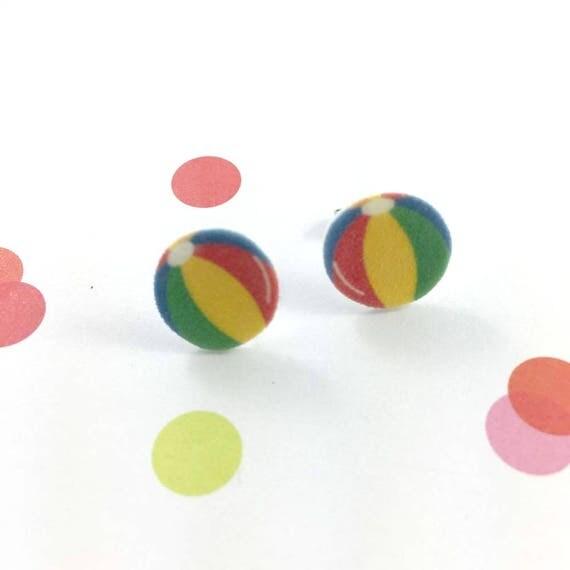 beach ball, colors ball, colors, stud earring, print on plastic, shrink plastic earring, stainless stud, handmade, les perles rares