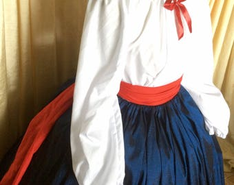 Moda Isabella NEW! Dress Ready to ship Long sleeves flag colors Red navy white patriotic Civil War Victorian 4th July Pioneer dress fit most