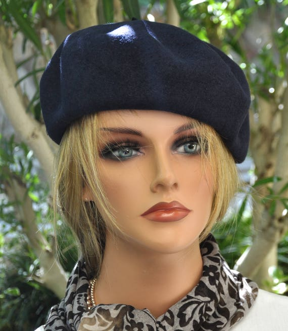 Navy Wool Beret, Navy Winter Hat, Navy Wool Hat Cap, French Beret, Navy Beret, Navy Blue Beret, Blue Winter Hat