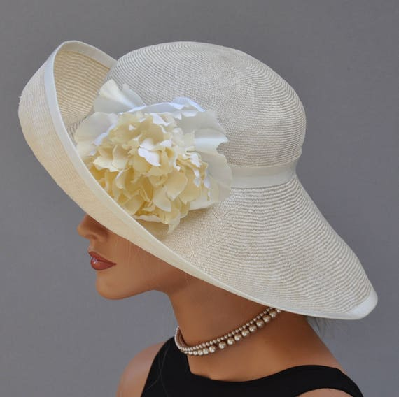 Wedding Hat, Wide Brim Hat, Church Hat, Women's Formal Hat, Derby Hat, Ascot Hat Women's Dressy Straw hat, Race Hat Dressy Garden Party Hat
