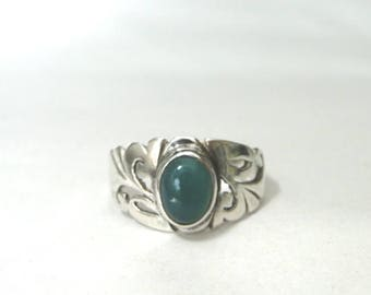 Vintage Filigree Turquoise Ring / Accessories / Jewelry / Gift for Her / Graduation Gift / Sterling Silver Turquoise Ring / Sterling Band