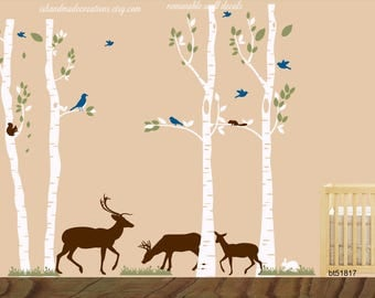 Birch Trees Forest Deer family  - Vinyl Wall Decal, Birch Forest Wall Decal, Deer Wall Decal, Woodlands Nursery Theme, Nursery Tree Sticker