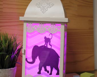 Baby lamp elephant night light animal safari baby nursery  dream   Lantern night light baby gift baby decor nursery ligth unique lamps