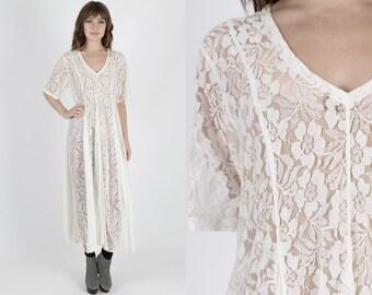 Grunge Dress Gypsy Dress 90s Dress Lace Dress Boho Wedding Dress White Dress Vintage Floral Dress Sheer Hippie Boho Festival Maxi Dress