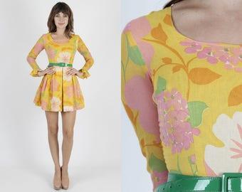 Mod Dress 60s Dress Psychedelic Dress Scooter Dress Yellow Dress Vintage 60s Bright Floral Dress Full Skirt Boho 1960s Micro Mini Dress