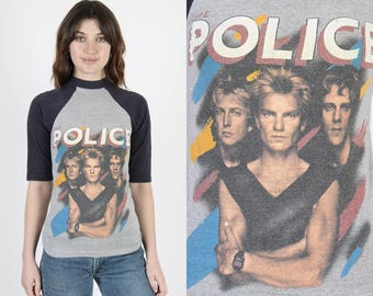The Police T Shirt Police Tee Police Band Synchroncity Tour Band Tee Concert T Shirt Vintage 80s Gray Sting Rock Raglan Tee T Shirt Small S