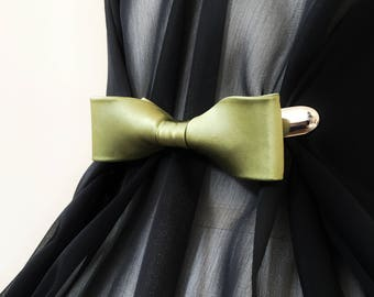 Silk Bow Cinch Clip - Olive Green