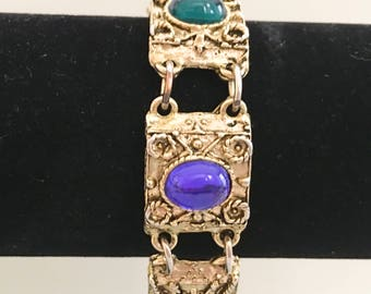 LJM Panel Bracelet, Vintage Jewelry, Rhinestone Bracelet, Red Green Blue Purple Cabochons, Antique Gold Tone Links, Laurentian Jewelry
