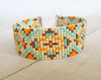 Ethnic jewelry/beaded jewelry/cuff bracelet/seed bead bracelet/boho bracelet/ethnic bracelet/loom bracelet/bohemian bracelet/gift for her
