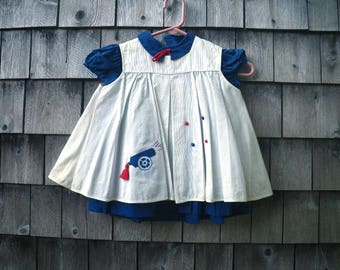 July 4 Cannon Baby Girl Dress & Pinafore Jumper 1960s Red White Blue Little Fashion Togs