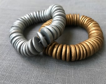 Silver and gold wood bracelets