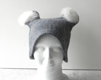 Felt hat, Gray wool hat,felted original hat, designer hat, woman hat from wool, Ready to send