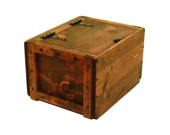 Wooden Box with Hinged Lid, Lidded Wood Crate, Wooden Bin with Lid, Keepsake Box, Memory Box, Memorial Box, Hope Chest, Wedding Card Box