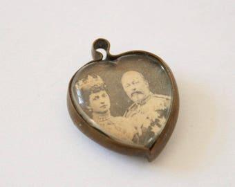 Vintage brass heart pendant. King Edward VII.  King George V.  Brass heart pendant