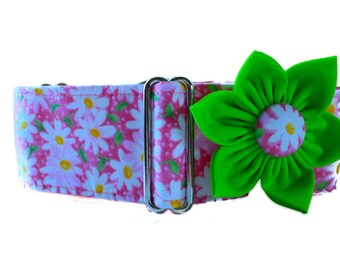 2 Inch Martingale Collar, Pink Martingale Collar and Matching Collar Flower, Pink Dog Collar, Daisy Dog Collar, Floral, Greyhound Collar