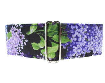 Purple Martingale Dog Collar, 1.5 Inch Martingale Collars, Greyhound Martingale Collar, Lilacs, Floral, Greyhound Collar, Lilac Dog Collar