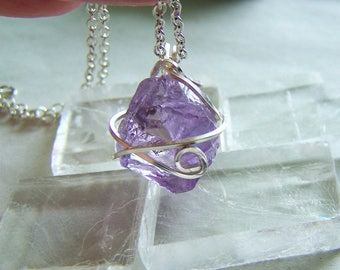 Purple Amethyst Raw Natural Crystal Pendant