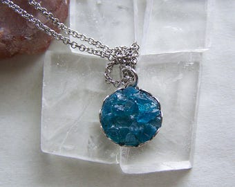 Neon Blue Apatite Crystal Gemstones Pendant Necklace