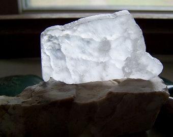 Ulexite Natural Fiber Optic T.V. Stone