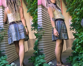 Eco Mini SKIRT, Size S/M, boho clothing, hippie clothing,festival skirt, gauze  mini skirt, patchwork skirt,paisley print skirt,  Zasra